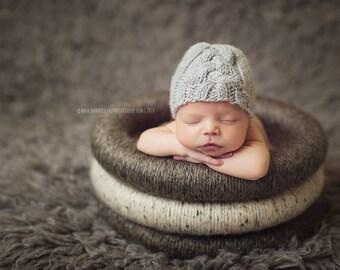 Newborn Photo Prop, Grey Newborn Hat, Knit Newborn Hat, Cable Knit Baby Hat, Baby Boy Beanie Hat, Newborn Boy Photography Props