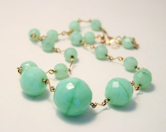 Vintage green glass bead necklace. Wired necklace