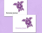 Hawaiian Sea Turtle and Hibiscus Note Cards, Custom Personalized, Honu Petroglyph, Made to Order, Lavender Purple, Beach Theme, Sea Life