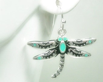 Dragonfly Earrings - Dangle - Turquoise Stamped Dragonfly - Dragonfly Jewelry - Nature - Summer - Boho Chic - Insect Jewelry - Bug Earr