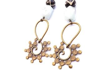 Bohemian statement earrings//Large, African brass pendant earrings//dramatic drop dangle earrings