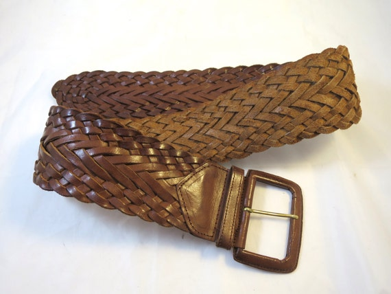 wide leather belt braided brown leather covered buckle size