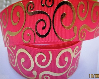 Hot Pink Ribbon with gold foil embellishment 10 yards