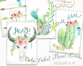 Watercolor Boho Floral Digital Printable Cards Tags, Bohemian Printable, Peace, Rose Flowers Floral Feathers Cow Skull Horns 3.5 x 5 inch