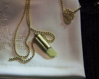 Natural Yellow Calcite Gemstone Crystal Bullet Jewelry Pendant