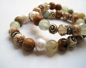 Mixed Gemstone Stacked Bracelet Pair / Prehnite / Navajo Agate & Wood / Twin Bracelet Set / Summer Beach