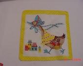 Vintage 1950's Child's Handkerchief Mother Goose   16 - 125