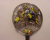 Vintage Filigree Bug On Fan Silver Brooch  15 - 40