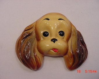 Vintage Chalk Puppy Dog Face Wall Hanging   16 - 58