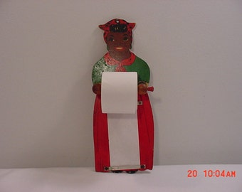 Vintage Wood Mammy Black Americana Shopping List Holder   16 - 65