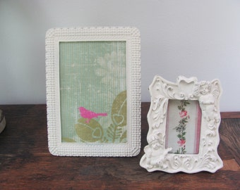 Shabby Chic Picture Frames, Set of Two Cream Frames, Cherub Picture Frame