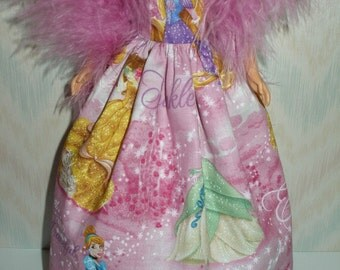"Handmade 11.5"" fashion doll clothes - Pink princesses gown with boa"