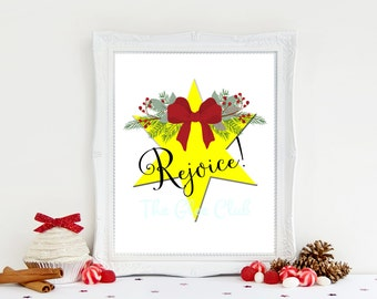 Christmas Print, Rejoice Print, Christmas Star print, Holiday Printable, Instant Download, 8 x 10 Digital, Christmas Sign, Christmas gift
