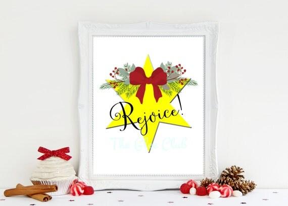 Christmas Print, Rejoice Print, Christmas Star print, Holiday Printable, Instant Download, 8 x 10 Digital, Christmas Sign, Christmas gift