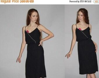 70% Off FINAL SALE - Vintage 1970s Rose Little Black Disco Dress - Vintage 70s LBD Dress   - Wd0707