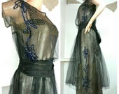 1920s Dress, Metallic Silk with Metallic Lace and Sequins