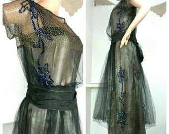 SALE 1920s Dress, Metallic Silk with Metallic Lace and Sequins
