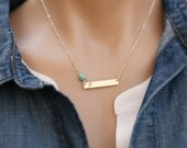 Personalized Long bar birthstone nameplate necklace,Silver or Gold or Rose gold, Skinny Initial Name Plate Contemporary