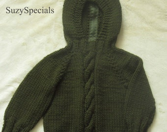 Knitted Hooded Olive Green Baby Sweater with Back Zipper