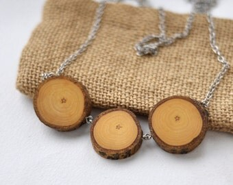 wood necklace • poplar wood necklace • wooden necklace