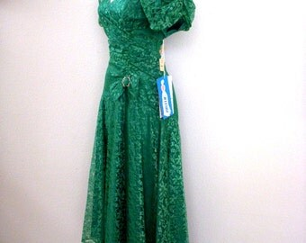 Vintage 60s 70s Green Lace Party Dress - Green Lace Prom Dress - Long Green Maxi Dress with Tags - NOS New Old Stock - Size Medium 11 12