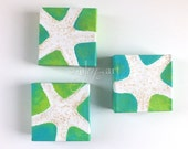 3 white starfish No.2, set of 4x4 inch acrylic beach themed paintings for home or office