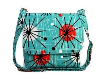 Turquoise Orange Purse, Modern Atomic Print , Small Cross Body Bag, Small Messenger Bag Purse, Cotton Pocketbook, Handmade Fabric Purse
