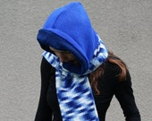 CLEARANCE SALE Upcycled Recycled Sweater Hooded Scarf Handmade Variegated Navy Royal Blue Shades Bright Hippie Boho Hipster Winter Fashion