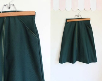 vintage 1970s girl scout skirt - FOREST green scout uniform skirt / 8yr / 23""