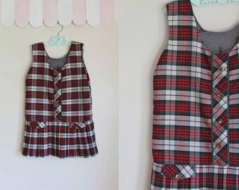 vintage 1960s girl's dress - HOLIDAY GATHERING drop waist jumper dress / 5T-6yr