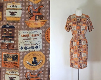 vintage 1960s novelty print dress - GENERAL STORE print shirt dress / S