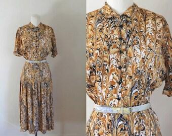 vintage 1940s/50s L'Aiglon dress - MARBLING shirtwaist dress / S/M