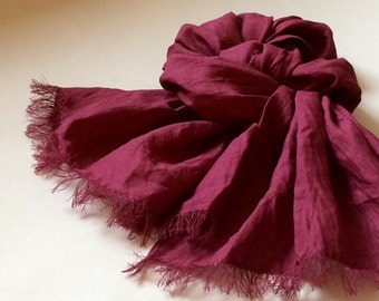 Wine red linen scarf, pure linen washed frayed shawl, soft burgundy red unisex scarf, gift for men for women