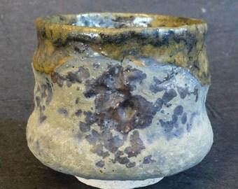 Chawan Charcoal Grey Olive Green Glaze, Shigaraki type clay by artist George Watson