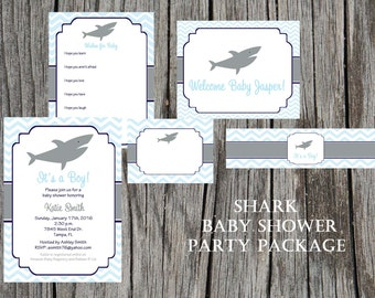 Shark Baby Shower Party Package, boy, airplane baby shower, plane, baby boy shower, DIY package