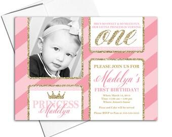 printable 1st birthday invitations   little girls first birthday invitation pink and gold   princess birthday invitations - WLP00303