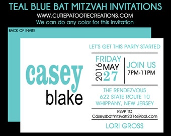 Teal Blue and Black Bat Mitzvah Invitation - RSVP Card - Guest and Return Addressing - Thank You Note Cards - Custom Colors Available