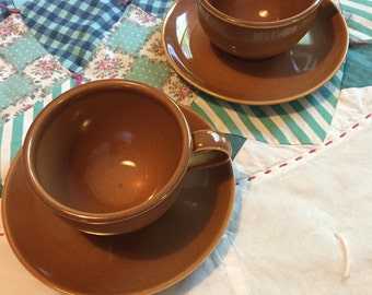Vintage 4 Piece Tea Cup Set Ripe Apricot Casual China Russel Wright Iroquois Made in The USA #3869