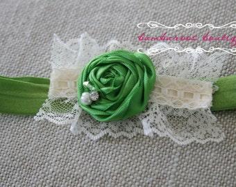 green baby headband, Newborn photography prop, petite vintage rosette on lace, newborn headband, vintage headband, vintage headband