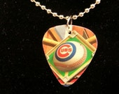 Chicago Cubs Baseball Guitar Pick Pendent Necklace - You Choose Chain or Cord