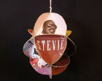 Stevie Wonder Album Cover Ornament Made From Repurposed Record Jackets