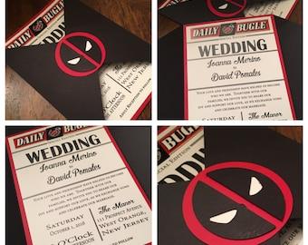 Comic book wedding invitations Etsy