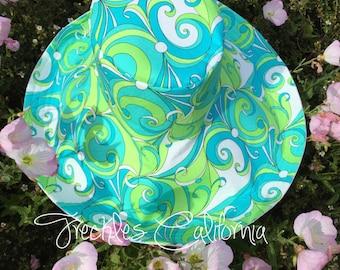 Sun Hat Wide Brim Summer Fashion Spring Womens Fashion Wide Brimmed Sunhat Blue Aqua Green Freckles California