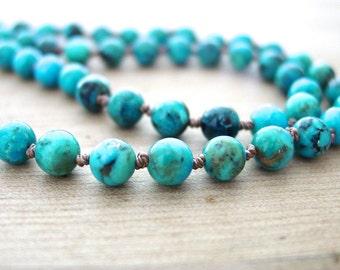 Kingman Arizona Turquoise Necklace Silk Knotted Fine Round Stones