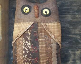 Primitive Patchwork Owl sitter Original Brown Halloween shelf tuck