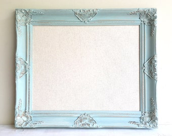 LINEN PINBOARD Corkboard Framed Cork Board Robins Egg Blue Framed Corkboard Teal Turquoise Shabby Chic Decor Wall Decor Jewelry Organizer