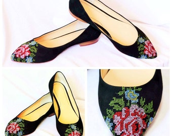 Ballerinas Embroidery shoes Low heels flats ballerinas Wedding embroidery flower flats