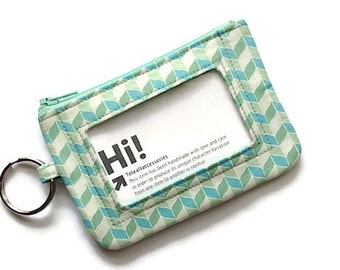 Chevron Keychain Id Wallet/Student ID Holder/Id Badge Holder/Card Wallet/Keychain Coin Purse/Zipper Id Case/Blue Green