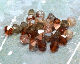 60pcs 6mm Faceted Bicone Glass Bead Mixed Fall Brown Champagne Copper AB Mix