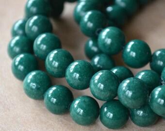 33pcs 12mm Dark Green Natural Gemstone Beads Mountain Jade Round 16 Inches